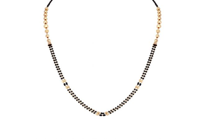 Glossy Finish Black Beads With Gold Bead Ball Design Mangalsuta-6-A1236