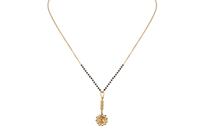 Curb Linkeds Chain With Floral Drop Design Gold Mangalsutra-6-A1240