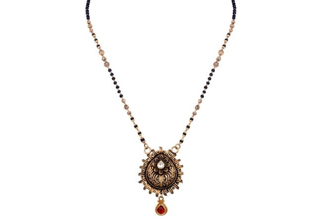 Antique Finish Floral Leafy Drop Design Studded With Synthetic Stone Gold Mangalsutra-6-A1280