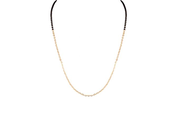 Glossy Finish Curb Linkeds Eternity With Black Beads Gold Mangalsutra-6-A1287