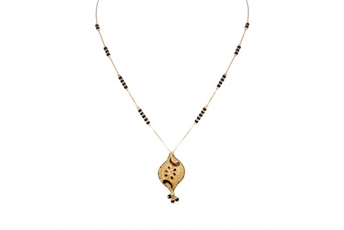 Curved Leafy Enamel Design With Black Beads Gold Mangalsutra-6-A872