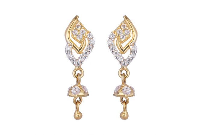 Curved Design Drop Gold Ball With CZ Studded Earrings-601-A2381