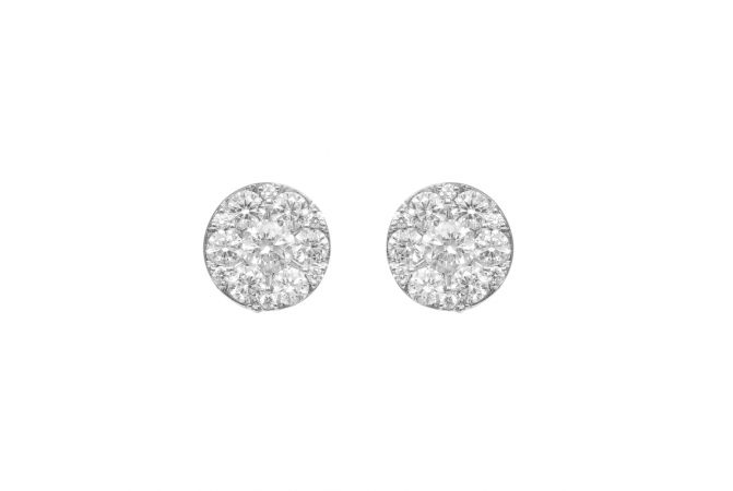 Round Pressure Set Diamond Earrings-60278410