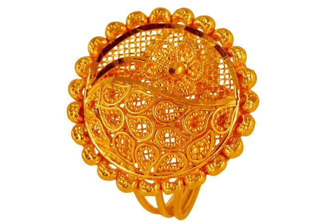 Filigree Gold Ball Embossed Floral Circle Ring - 60ALR1023