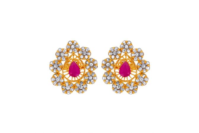Traditional Floral Cutout Polki Gemstone Gold Earrings