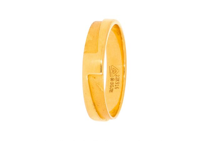 Glossy Sand Blast Finish Band Design Gold Ring