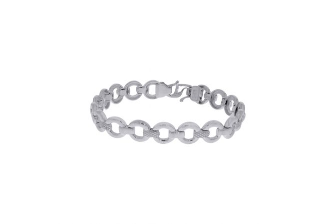 Silvo Texutred Crub Linked Men's Bracelet