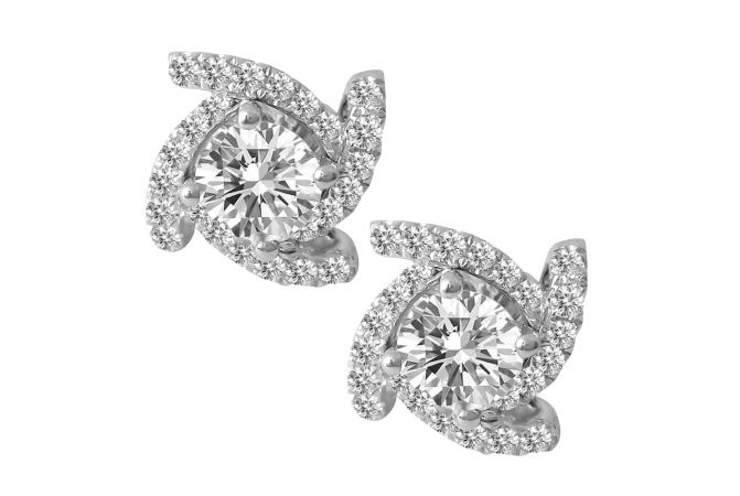 18kt White Gold Flush Prong Set Cluster With Solitaire Diamond Twisted Square Earring-6K6GM