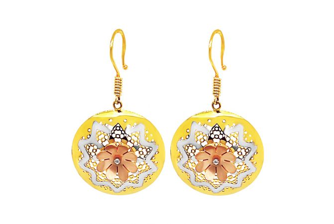 Stunning Cutout Floral Gold Earrings