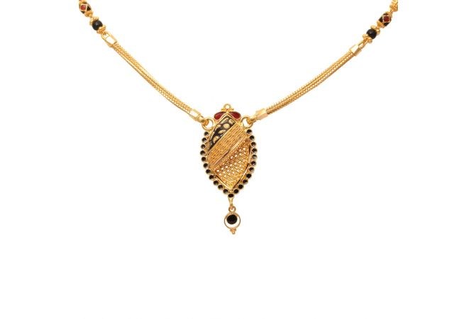 Pear Design Pendant With Meena Gold Mangal Sutra-70014008