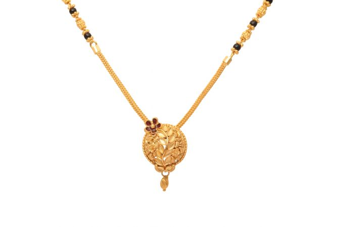 Leafy Design Round Pendant With Meena Gold Mangal Sutra-70035002