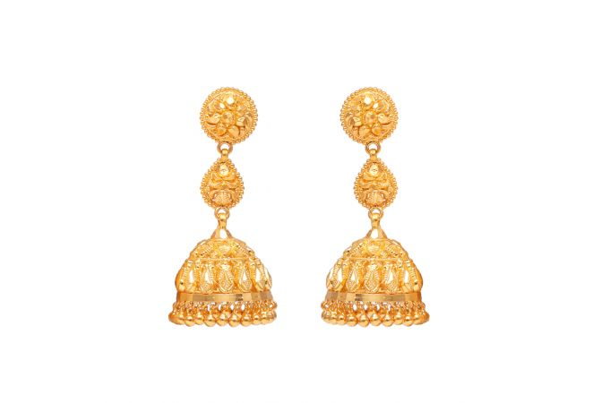 Gold Embossed Drop Balls Jhumka Earrings-70059107