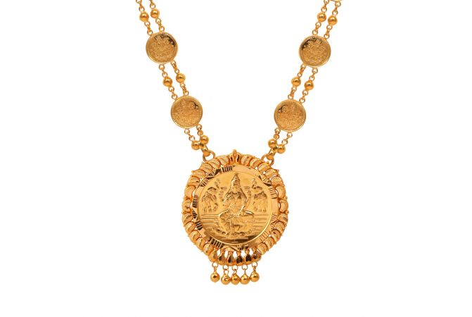 Gold Embossed Lakshmi Haar-70083206