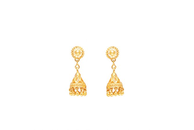 Gold Beads Drop Jhumka Earrings-70092101