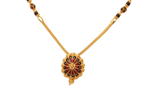 Floral Design Pendant With Meena Gold Mangal Sutra-70111806