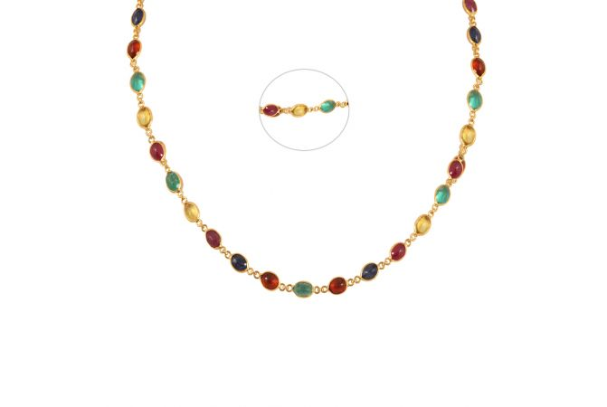 Circle Link Necklace With Multicolour Stone-70128802