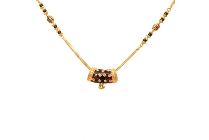 Gold Bar Pendnat With Meena Gold Mangal Sutra-70133908