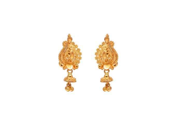 Filligree Embossed Design Gold Drop Earrings-70141105