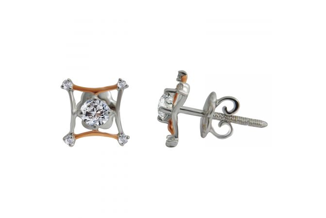 18kt Two Tone Gold Prong Set Solitaire Diamond Square Earring-7UKHZ