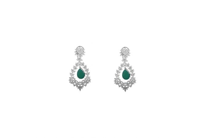 Sparkling Leafy Design Dangling Synthetic Green Stone Cluster Diamond Earring-8045-4583-001