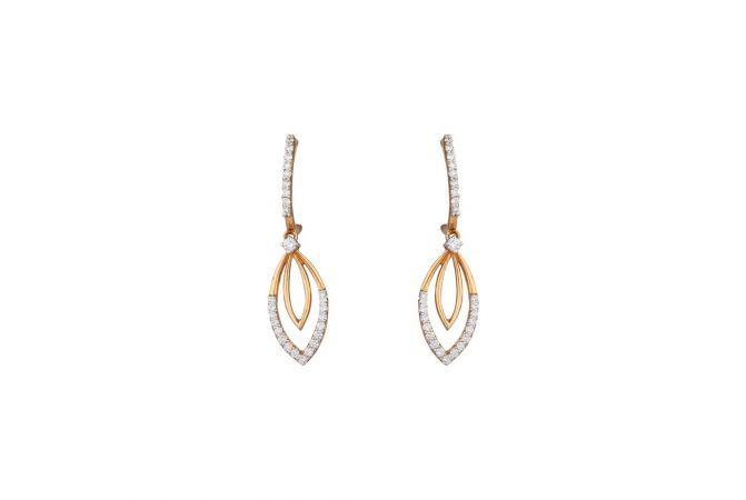 Glittering Drop Marquise Design Pave Set Diamond Earring-8045-6676-001