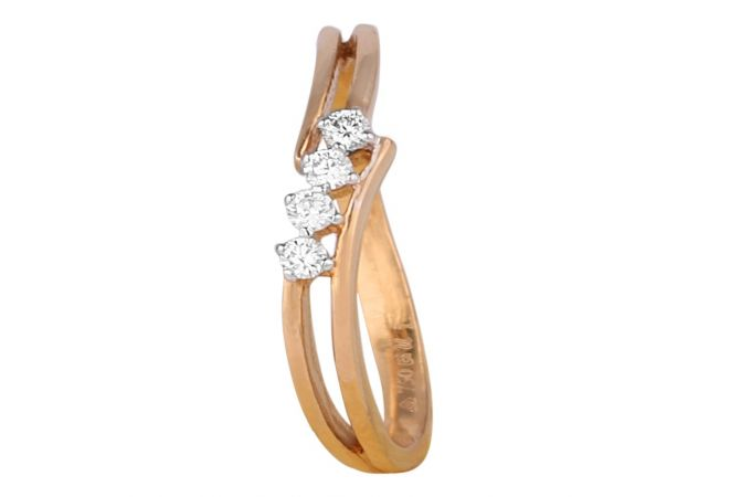 Glittering Prong Set Curved Diamond Ring-8045-7467-001