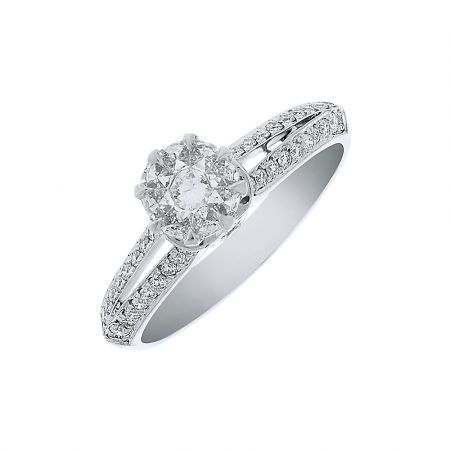 Sparkling Cluster Head Diamond White Gold Ring