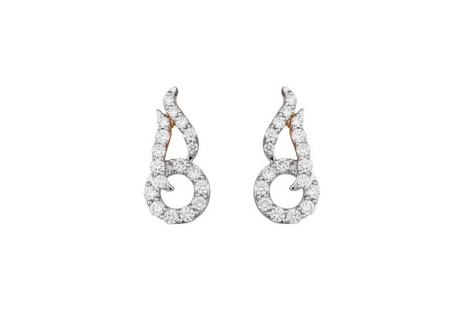 Curved Drop Circle Cluster Diamond Earring-8047-746-001
