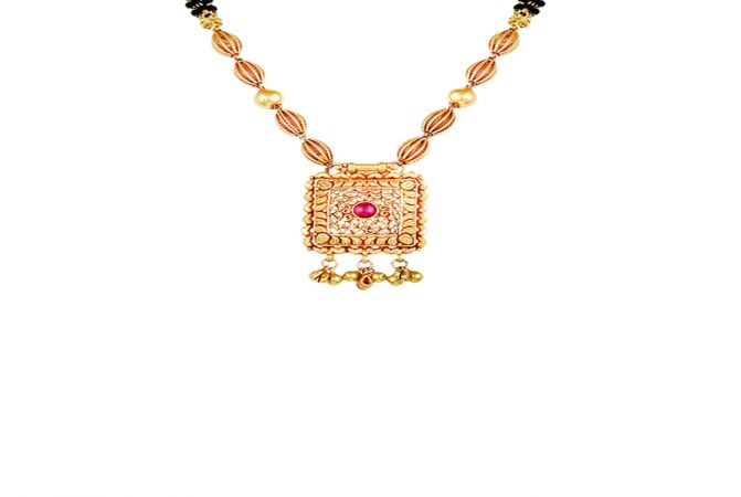 Traditional Filigree Engraved Gold Mangalsutra-MSEJ100042