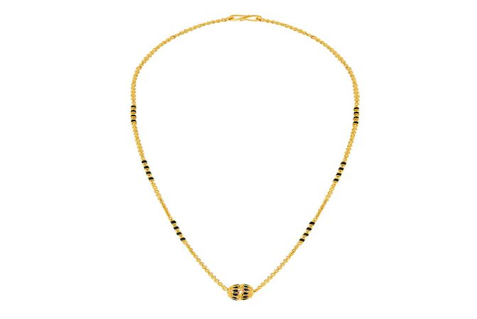 Fancy Black Bead Gold Mangalsutra-MSEJ100071