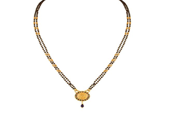 Traditional Textured Two Layered Black Bead Yellow Gold Mangalsutra-MSEJ100081