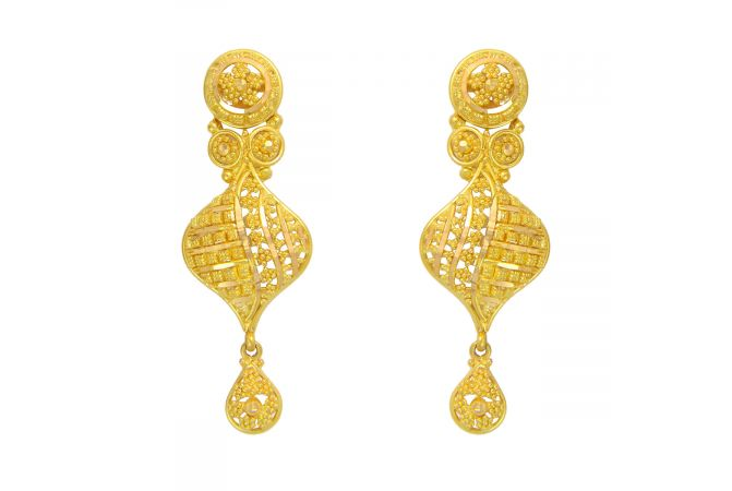 Traditional Embossed Cutout Gold Earrings