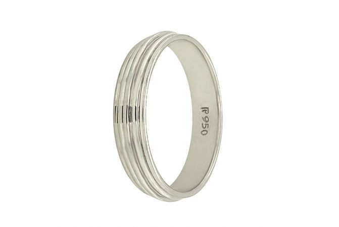 Glossy Finish Grooved Band Design Platimun Ring