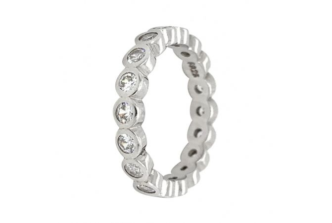 Glossy Finish CZ Studded Band Design Silver Ring