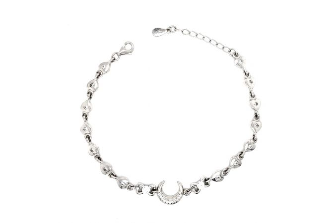 Glossy Finish Half Moon Heart Design With CZ Studded Silver Bracelet