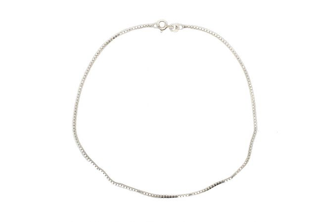 Glossy Finish Box Chain Design Silver Anklet