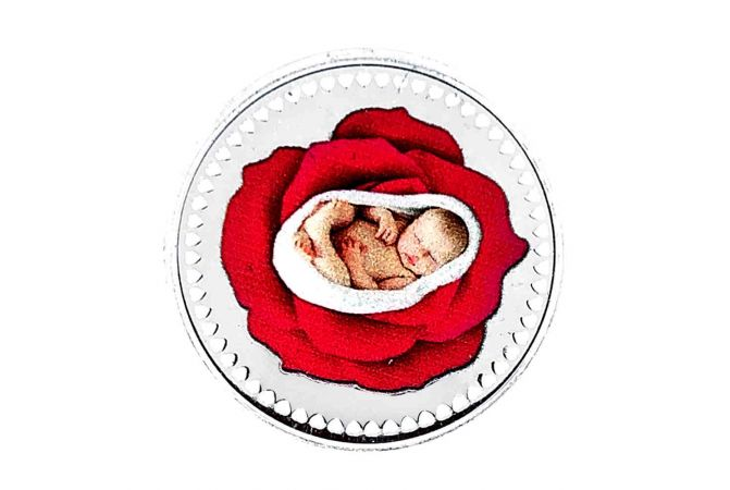 Glossy Finish New Born Baby Silver Coin