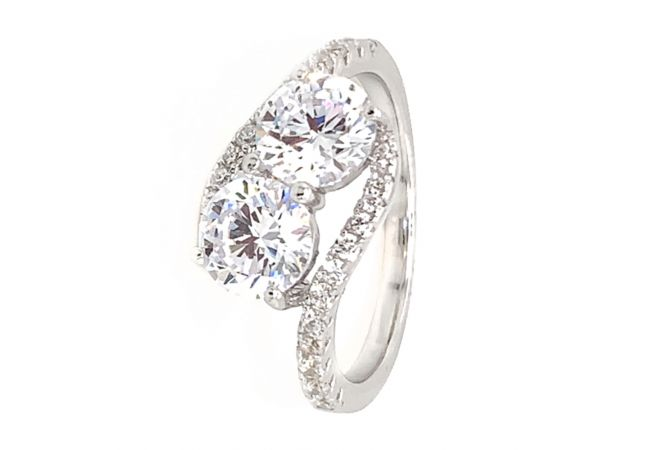 Glossy Finish Twisted Design With CZ Studded Silver Ring