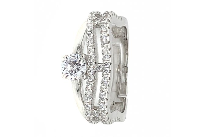 Glossy Finish Contemporary Design With CZ Studded Silver Ring