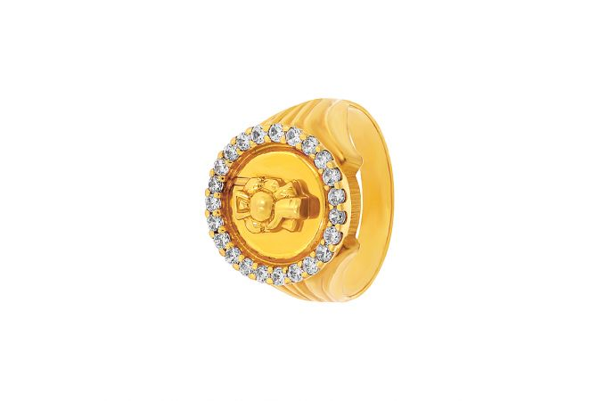Lord Ganesha Embossed Cz Gold Ring