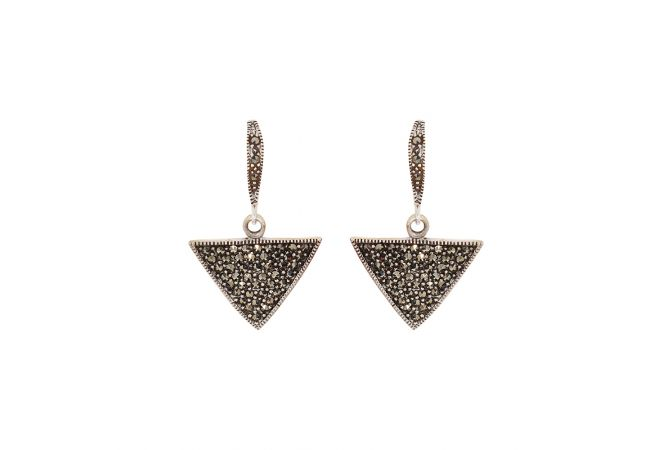 Antique Trio Dangler CZ Silver Earrings