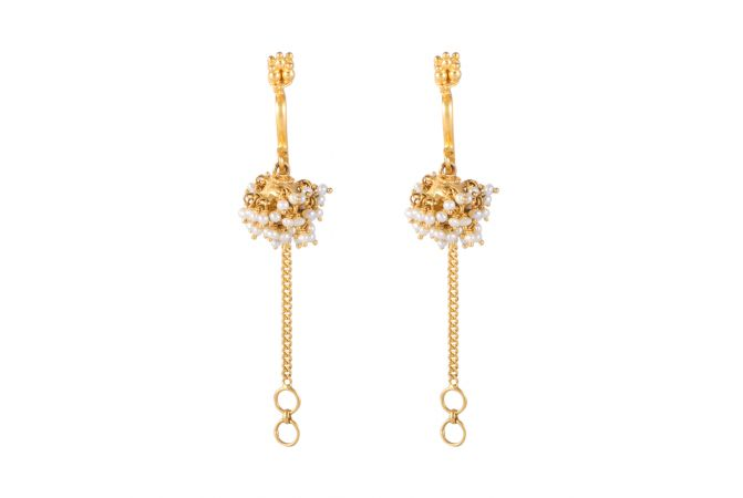 22kt Gold Pearl Beads Earring With Kan Chain - BBER30