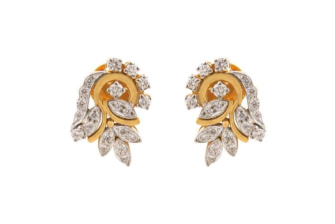 Sparkling Pave Prong Set Feather Leafy Design Diamond Earrings