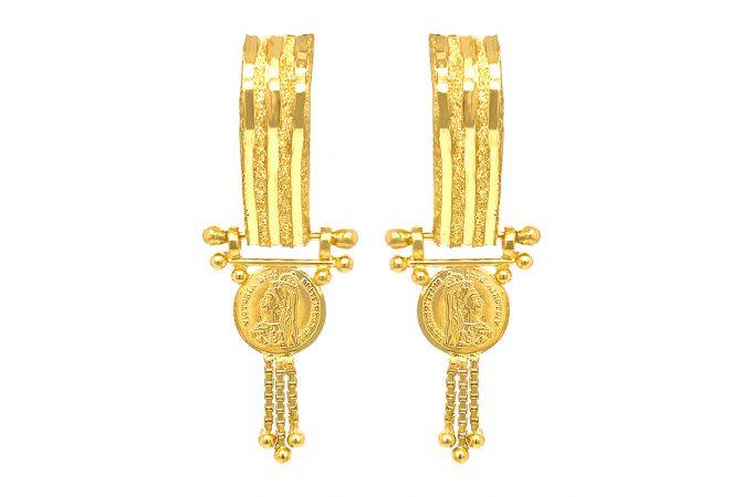 Traditional Textured Engraved Victoria Coin Gold Earrings