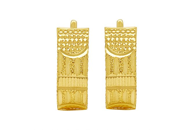 Classic Textured Engraved Gold Huggies Gold Earrings
