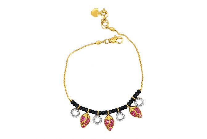 Dazzling Strawberry CZ Black Bead Link Gold Bracelet