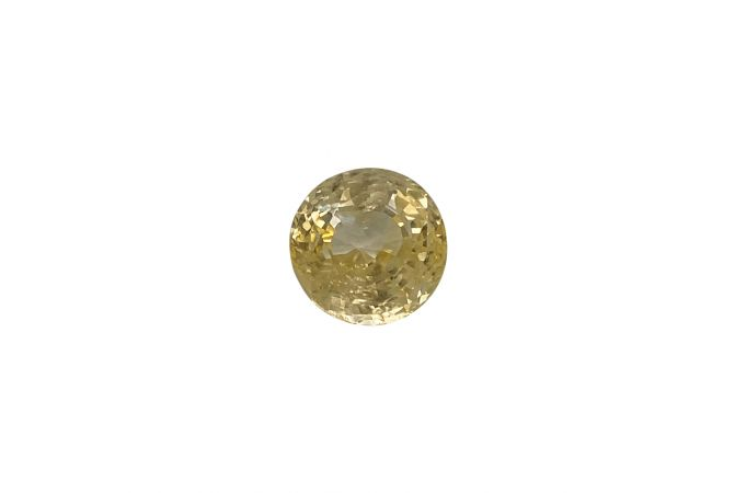 Natural 7.55 Carat Round Faceted Yellow Sapphire Gemstone