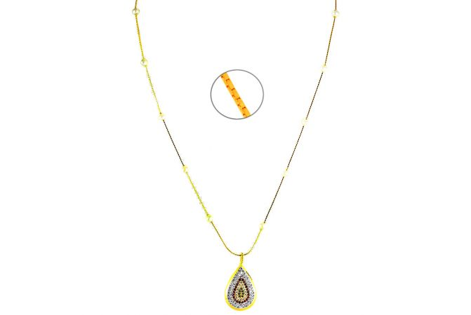 22kt Pearl Gold Chain  With Multicolour Pendant - C2225