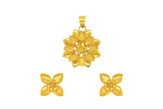 Blooming Textured Floral Gold Pendant Set