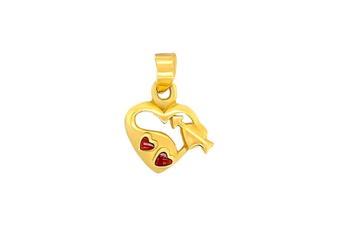 Heart And Arrow Gemstone Charm Gold Pendent